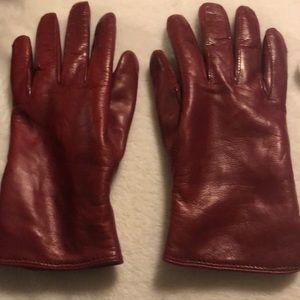 COACH genuine leather gloves. Dark red